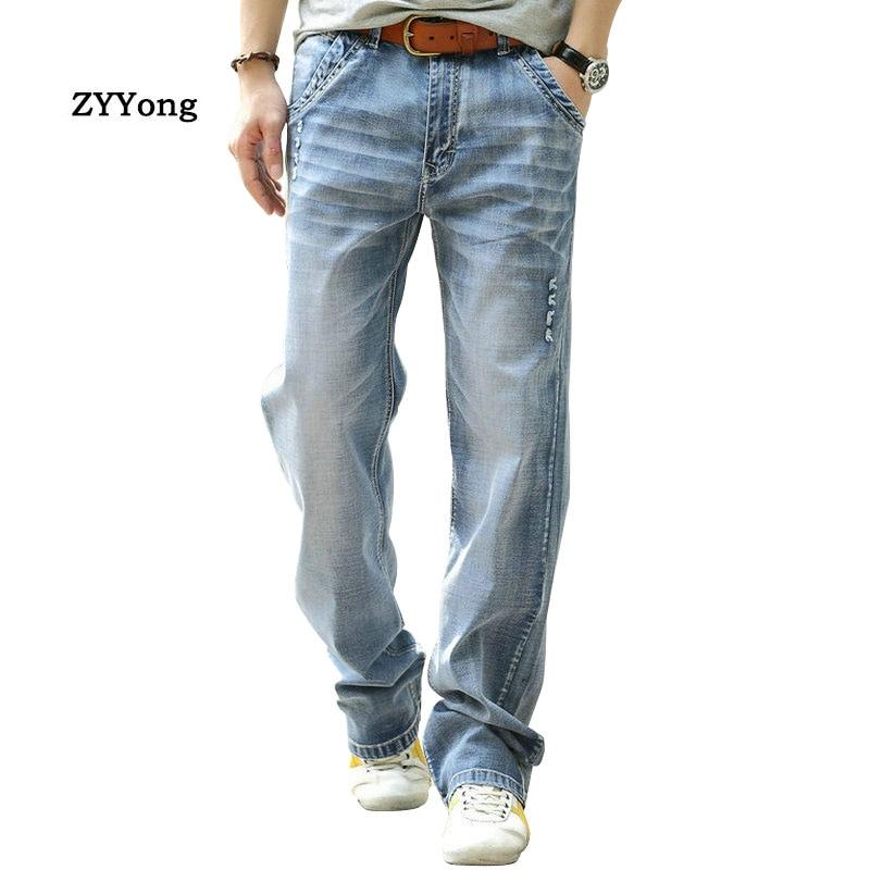 Summer Thin Section Men Jeans Straight Breathable Elastic Loose Baggy Harem Hip Hop Denim Pants Cotton Blue Wide Leg Trousers