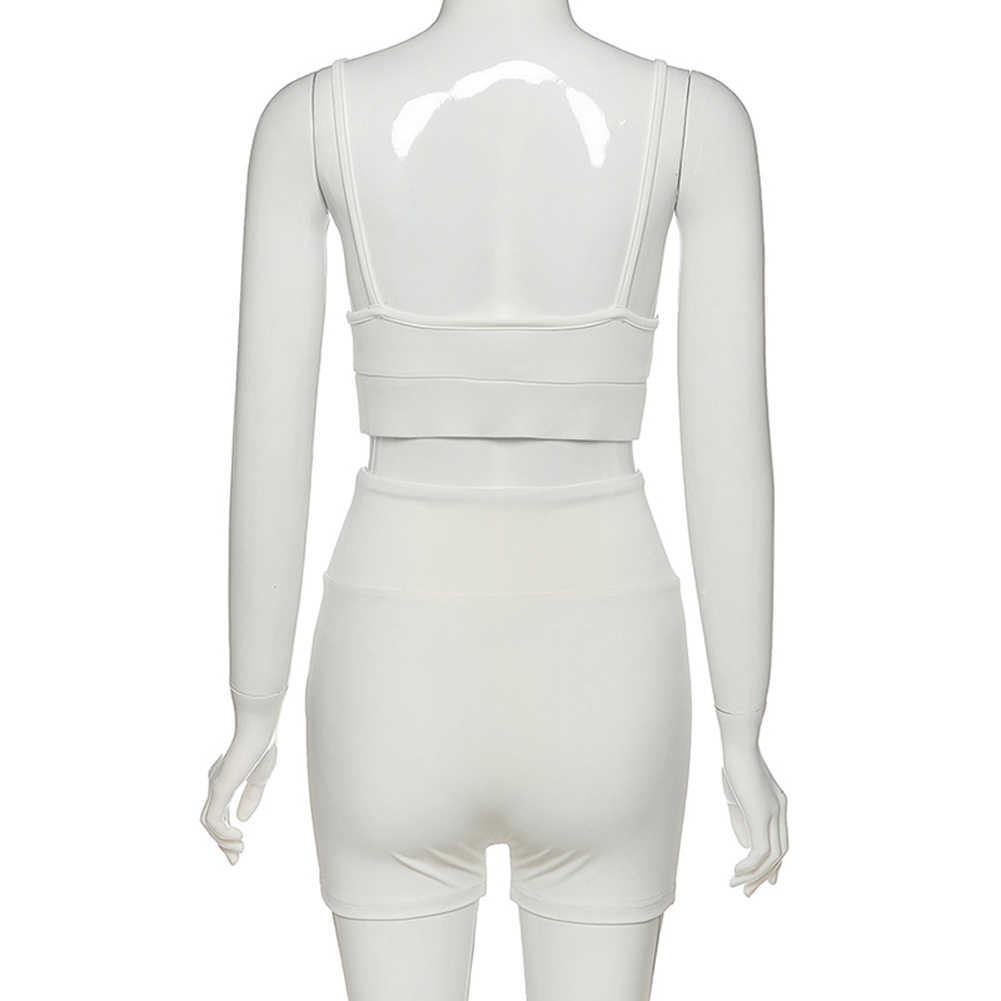 2020 seksi kadın Bodycon iki parçalı Set peluş straplez Casual katı elastik kolsuz spor spor takım elbise