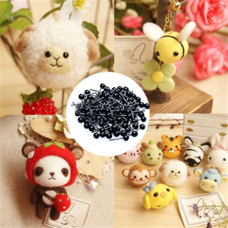 JIMITU 100PCS/Set Black 2mm/3mm/4mm Glass Eyes Needle Felting Teddy Bears Dolls Animals Crafts For Dolls Accessories