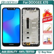 Novo original para doogee x70 lcd & digitador da tela de toque com display quadro módulo reparação substituição acessórios peças