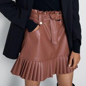 RR Tie Belt Waist Pockets Skirts Women Fashion Small Pleated Faux Leather Skirt Women Elegant Mini Skirts Female Ladies HZ(China)