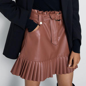 RR Tie Belt Waist Pockets Skirts Women Fashion Small Pleated Faux Leather Skirt Women Elegant Mini Skirts Female Ladies HZ