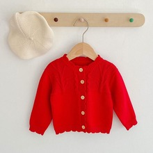 Sweater Cardigan Knitted Girl Baby Spring Red Wear-Trousers Infant Kids Single-Breasted
