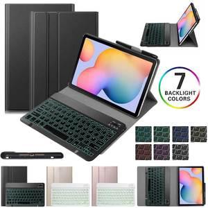 Клавиатура для ноутбука Samsung Galaxy Tab S6 Lite 10,4 дюймов 2020 чехол SM-P610 SM-P615 Чехол-книжка из искусственной кожи с подставкой и окошком для быстрого от...
