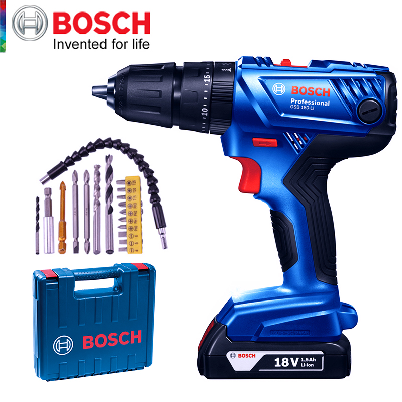 Bosch Cordless Electric Drill Driver 18V Max 50N m Impact Driver LED light Drill Combo Kit for Drilling Wood Metal and Plastic