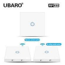 UBARO EU/UK 433Mhz RF Drahtlose Steuerung Schalter Weiß Kristall Glas Panel Wand Licht Touch Controller Treppen Schalter 1/2/3 Gang