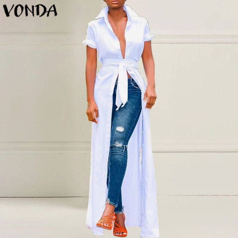 VONDA Women Blouses 2020 Summer Casual Loose 3/4 Sleeve Long Beach Shirts Dress Sexy Ladies Party Shirts Cardigans Plus Size Top