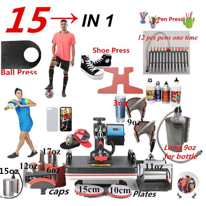 15 tudo em 1 máquina da imprensa do calor, máquina da imprensa da pena da sublimação, máquina da transferência térmica para a bola/sapatas/tampão/placa da caneca/tshirts/casos