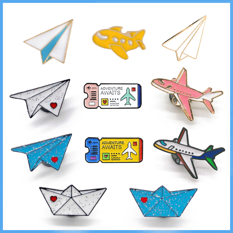 Cartoon Childhood Memory Enamel Pins airplane Boat Brooch Backpack Clothes Button Badge aircraft Ticket Jewelry For Kids Friends image