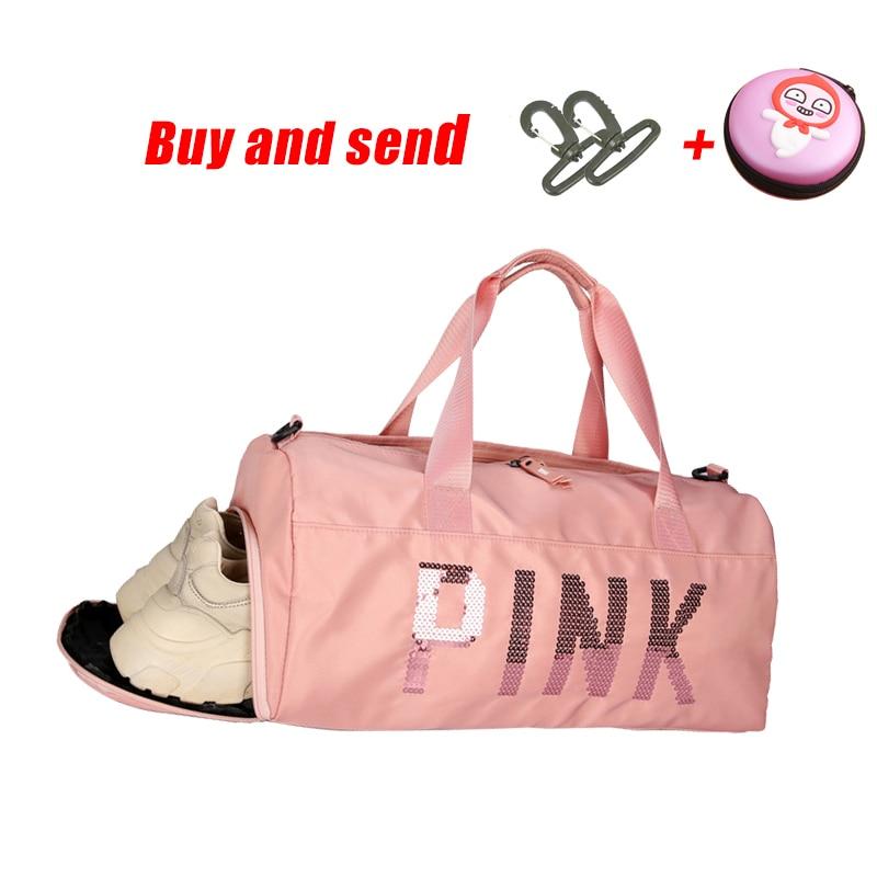The latest design sequins PINK letter fitness bag dry and wet separation sports bag shoulder Messenger