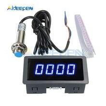 0,56 ''tacómetro Digital a 4 LED verde taquicardia ventricular RPM medidor de velocidad con Hall interruptor con Sensor de proximidad NPN 24V 12V