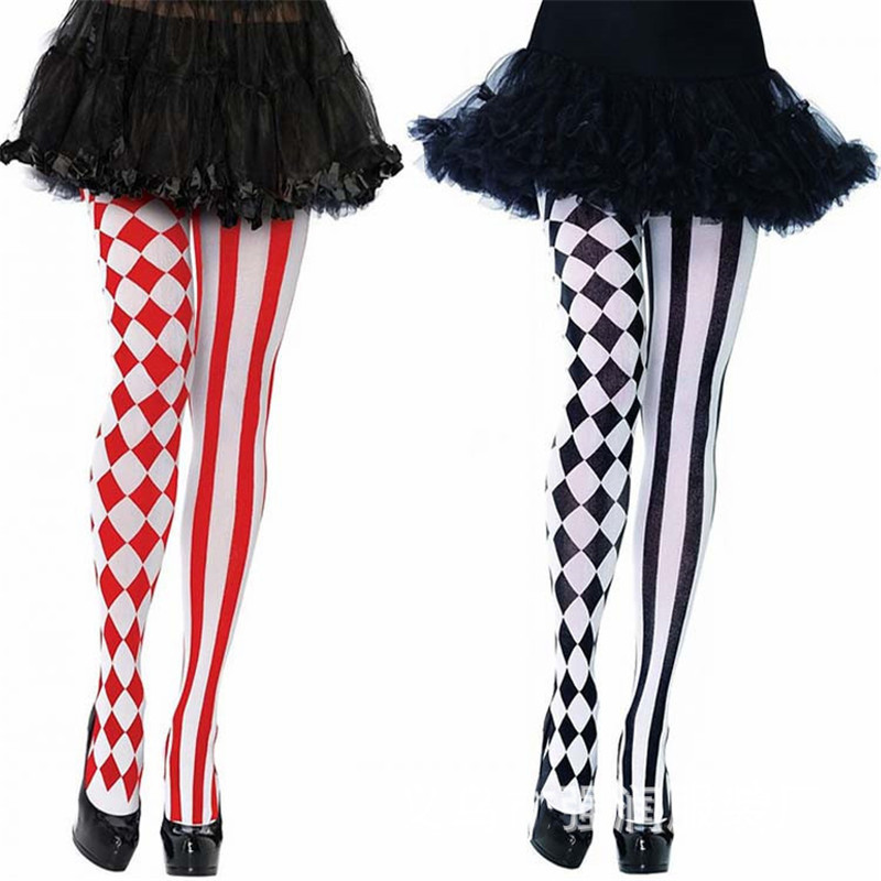 2019 Womens Halloween Stockings Party Cosplay Striped Elastic Pantyhose Stockings Autumn Winter Chrismas Club Clown Multicolor
