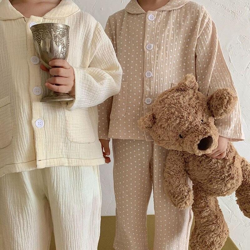 2021 סתיו ילדי פיג 'מה חדשה דוט בנות הלבשת בגדי שנת מזדמן לאחים ואחיות פשתן בנות פיג' מה