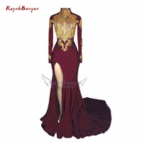 Gold Applique High Neck Mermaid Prom Dress Split Zipper Long Sleeves Satin Party Gown