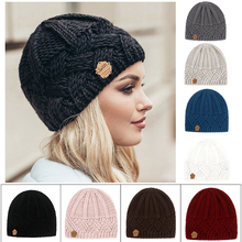 Girl Hats Bonnet Knitted Beanie Warm Chunky Autumn Stretchy Thick Fashion Women Faux-Fur