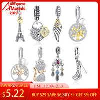 BELAWANG 925 argent Sterling PARIS tour Eiffel or perles breloque ajustement Original Pandora Bracelets & Bracelets pendentif bijoux à bricoler soi-même