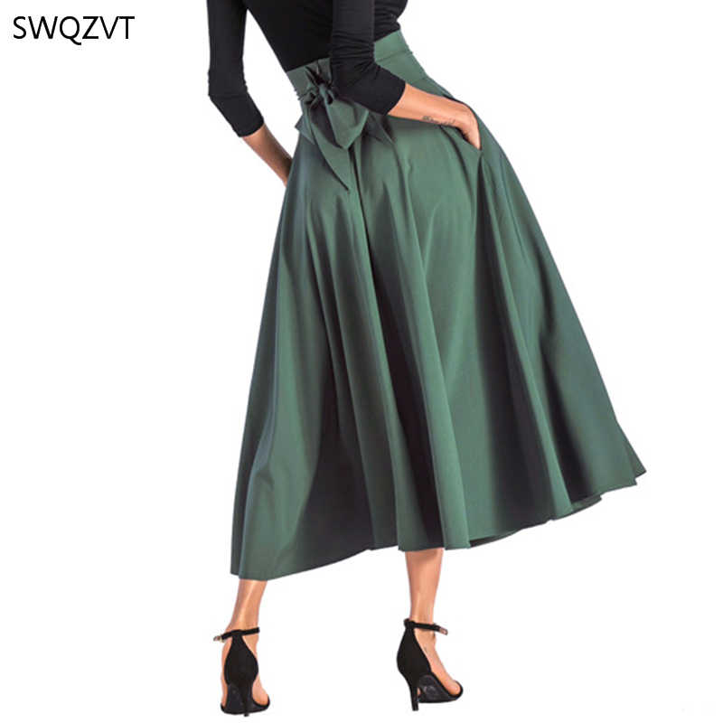 2020 Baru Fashion Wanita Panjang Rok Kasual Musim Semi Musim Panas Rok Wanita Anggun Padat Busur-Simpul A-line Maxi Wanita cothes