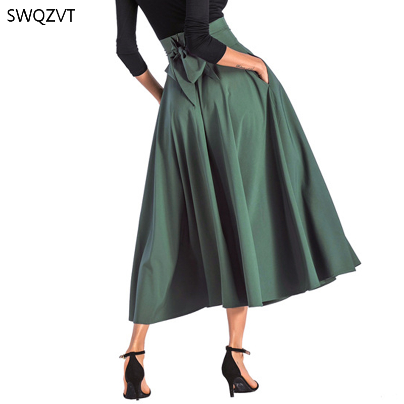 2020 New Fashion Women Long Skirt Casual Spring Summer Skirt womens Elegant Solid Bow-knot A-line Maxi Skirt Women Cothes 9