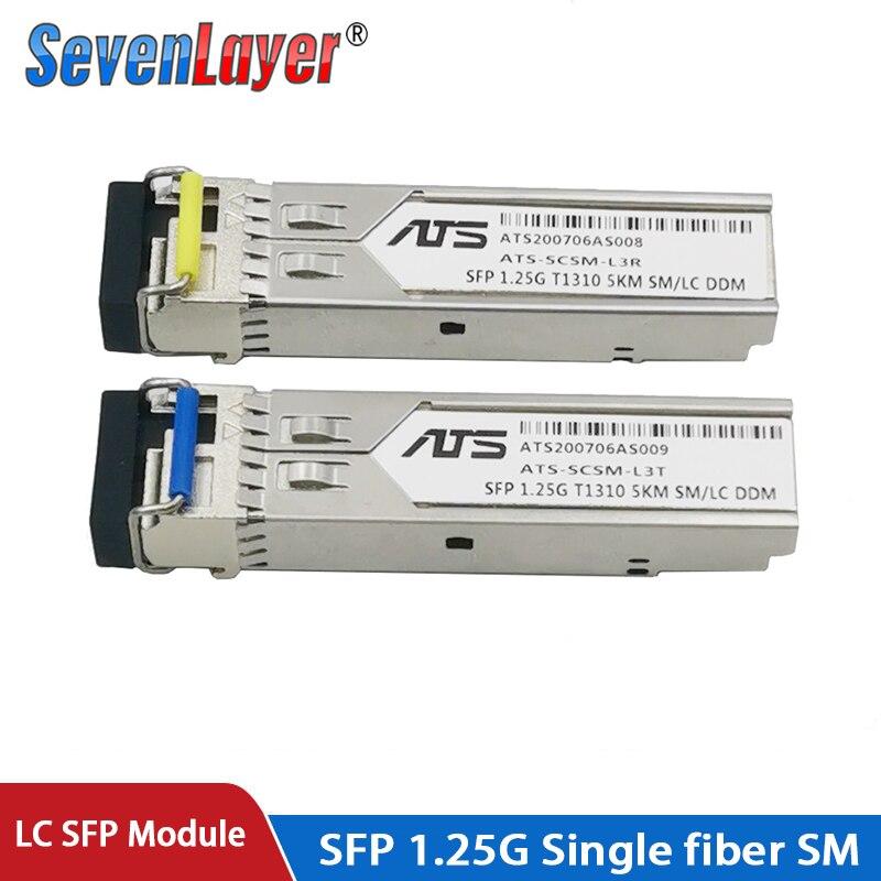 Module SFP 1.25G LC BiDi 1310nm/1550nm WDM commutateur SFP module émetteur-récepteur avec interrupteur avec fonction DDM Compatible avec Mikrotik
