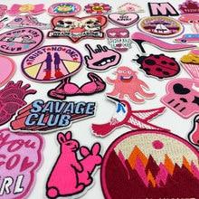 Parche bordado de dibujos animados de sepia, corazón, lazo de flores, rosa, artesanal, planchado, insignia para ropa, apliques, decoración, ropa