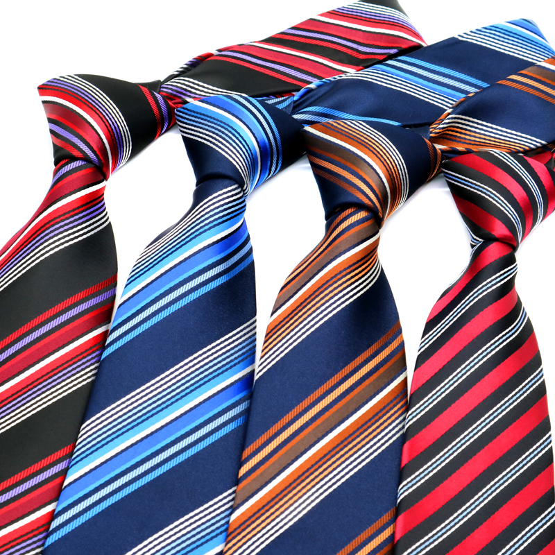 YISHLINE 2020 HOT Classic 8CM Men Ties Striped Red Blue Man Neck Ties Neckwear Bridegroom Business Wedding Tie Party Accessories