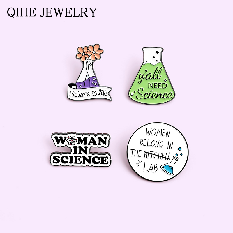 Chemistry Pharmacist Enamel Pin Science Metal Brooches Pins for Backpack Cute Black White Badge Jewelry Gifts Friends Wholesale