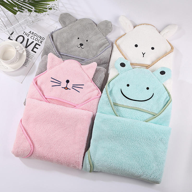 Bath-Towel Blanket Hood Fleece Coral Newborn Infant Baby Cartoon with 90--90cm