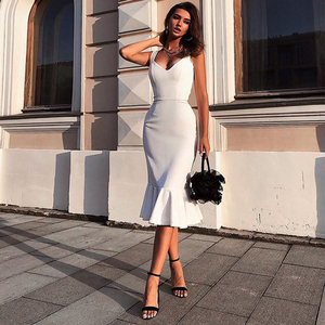 AI RUI SHI STORE Summer Women New Suspender Maxi Long Bodycon Elegant Dress White Sexy Backless Befree Bandage Dress