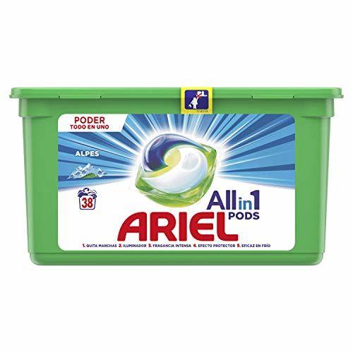 Ariel Todo En Uno Pods, Frescor De Los Alpes Detergente En Cápsulas 38 Lavados, Con Lavado A 20 °C Y Perfume Duradero