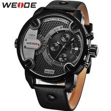 Weide homem luxo casual quartzo militar esportes calendário data automática pulseira de couro preto caso liga relógio relogio masculino