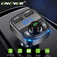 Onever 5v 4,1 EIN FM Transmitter Aux Modulator Bluetooth Car Kit Auto Audio MP3 Player Quick Charge Dual USB Auto Ladegerät(China)