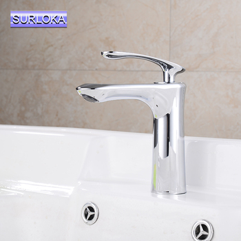 SURLOKA Basin Faucet Classic Stainless Steel 304 Mixers Sink Tap Single Handle Basin Kitchen Faucet Modern Hot and Cold Water