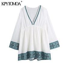 KPYTOMOA – Mini robe brodée Vintage, Chic, mode Patchwork, col en V, manches longues, femmes, 2021
