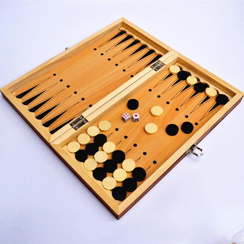 Backgammon de viaje plegable de Madera con motivos Vintage