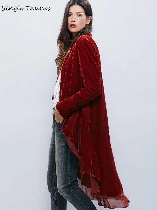 Elegant Velvet Chiffon Ruffles   Trench   Coat Women Fashion Open Stitch Dovetail Casaco Feminino Office Lady Velvet Duster Blazer