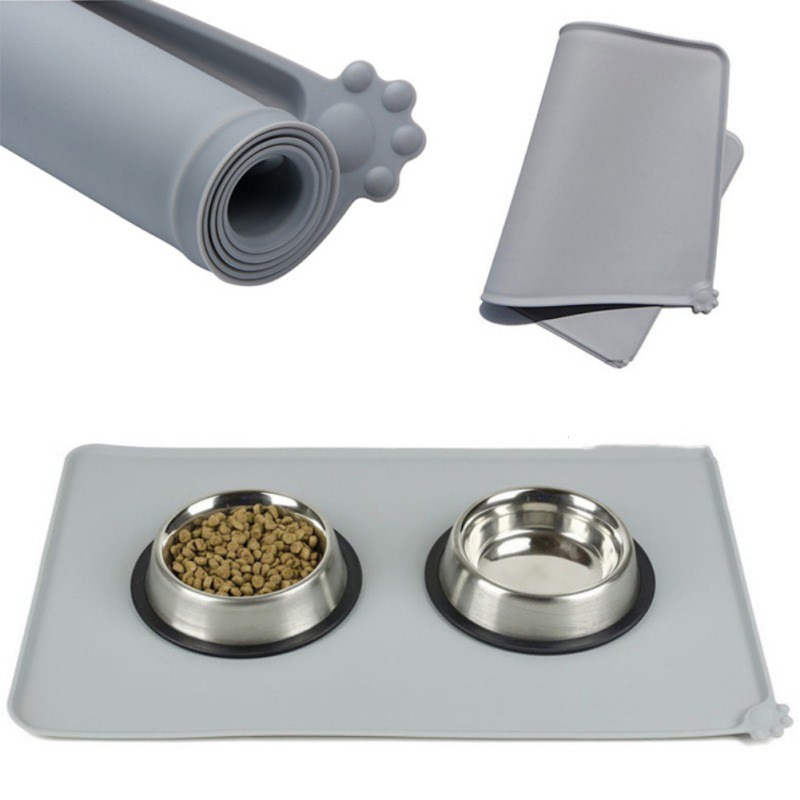 Waterproof Pet Mat For Dog Cat Solid Color Silicone Pet Food Mat Pet Bowl Drinking Water Pad Dog Feeding Mat Easy To Clean