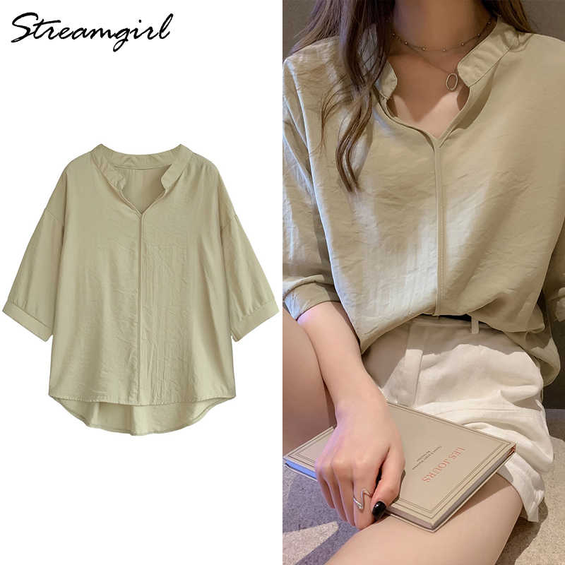 Vrouwen Blouses Zomer V-hals Korte Mouw Dames Tops Chiffon Groene Vintage Plus Size Zomer Blouses Voor Vrouwen 4XL Blouse