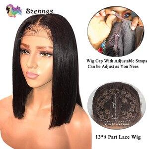 Image 4 - Parrucca di capelli Umani malesi lisci corti bob parrucca anteriore del merletto con i capelli del bambino parte centrale 13*4 del merletto anteriore parrucca nodi candeggiati capelli
