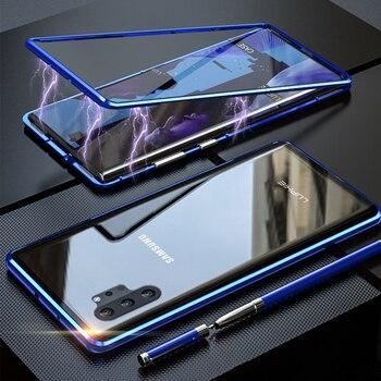 Перейти на Алиэкспресс и купить 360 douleface полная защита Магнитный чехол для Samsung A51 чехол A50 A71 S10 закаленное стекло чехол для Galaxy Note 10 PLUS S20