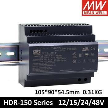 MEAN WELL HDR-150 85-264VAC do DC 12V 15V 24V 48V Meanwell Ultra cienki kształt krokowy zasilacz na szynę DIN HDR-150-12 HDR-150-24 tanie i dobre opinie CN (pochodzenie) 0-10A 47 ~ 63Hz JEDNA 101-200 w Short Circuit Over Load 105*90*54 5mm (W*H*D) 150mVp-p Household control system