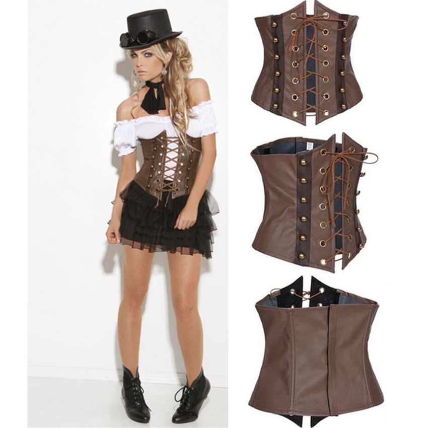 Medieval Woman Gothic Underbust Leather Corset Palace Princess Pirate Cosplay Waistband Steampunk Renaissance Bustiers Top