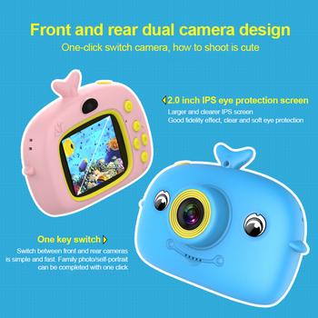 Aparat fotograficzny dla dzieci 2000W zabawka z kreskówki aparat podwójny aparat full HD przenośny cyfrowy 2 cale ekran IPS zdjęcie aparat fotograficzny dla dzieci prezent tanie i dobre opinie centechia 7 1x-16x CN (pochodzenie) Elektroniczny stabilizacja obrazu Brak Full hd (1920x1080) CMOS 1 2 cali 15-45mm 10 0-20 0MP
