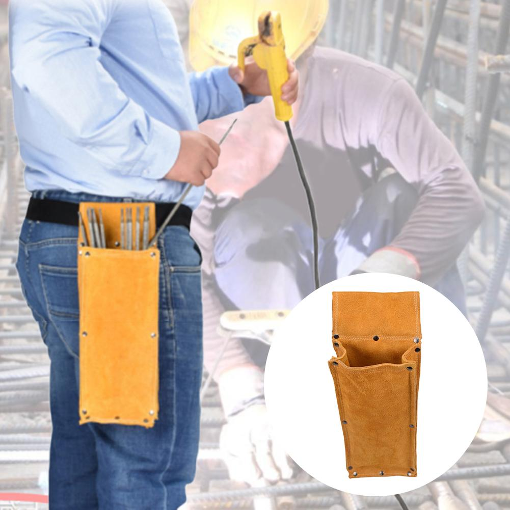 Cowhide Tool Bag Electrode Holder Welding Rod Storage Bag Wear-resistant Flame Retardant Anti-cutting Leather Hardware Waist Bag
