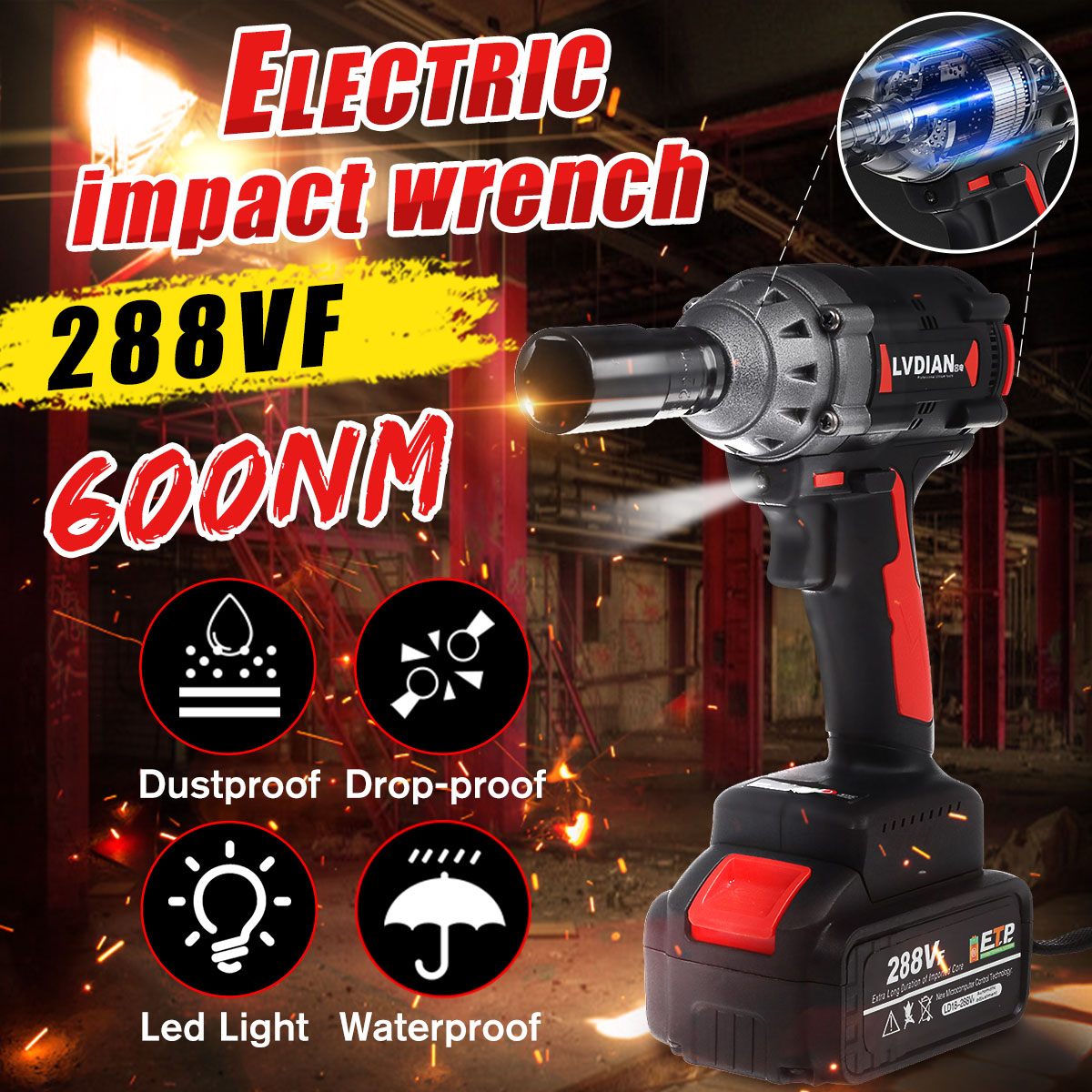 288VF Brushless Cordless Impact Electric Wrench Li Ion Battery 600N.M Torque Household Car/SUV Wheel Socket Wrench  Tools