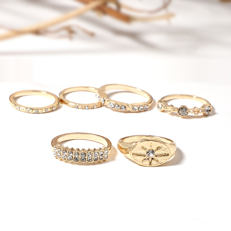 Tocona Bohemian Vintage Water Drops Star Geometric Crystal Ring Set Women Charm Joint Ring Fashion Jewelry Gift 4