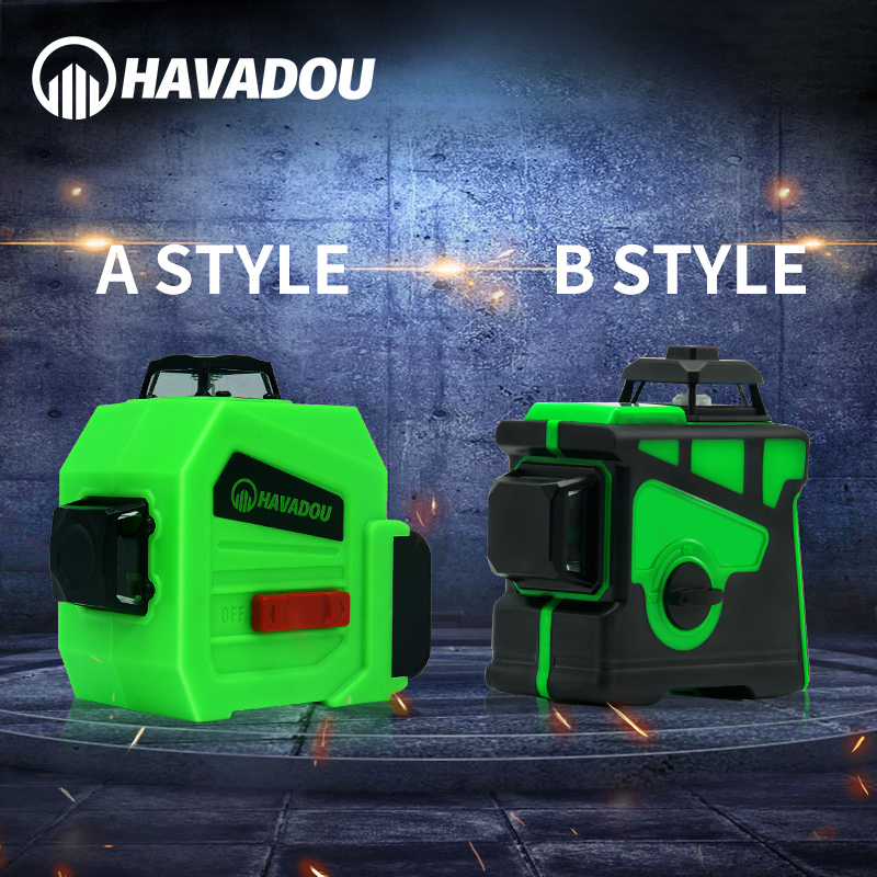 Tools : HAVADOU Green12 Lines 3D Auto Self-Leveling Laser Level 360 Horizontal Adjustment Super Powerful Green Laser Indoors and Outdoor