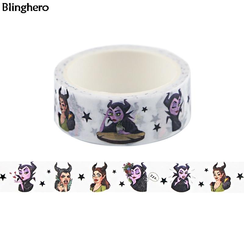 Blinghero Tape 15mmX5m Cool Princess Washi Tape Masking Tape Adhesive Tapes Washi Stickers Stationery Tape BH0477
