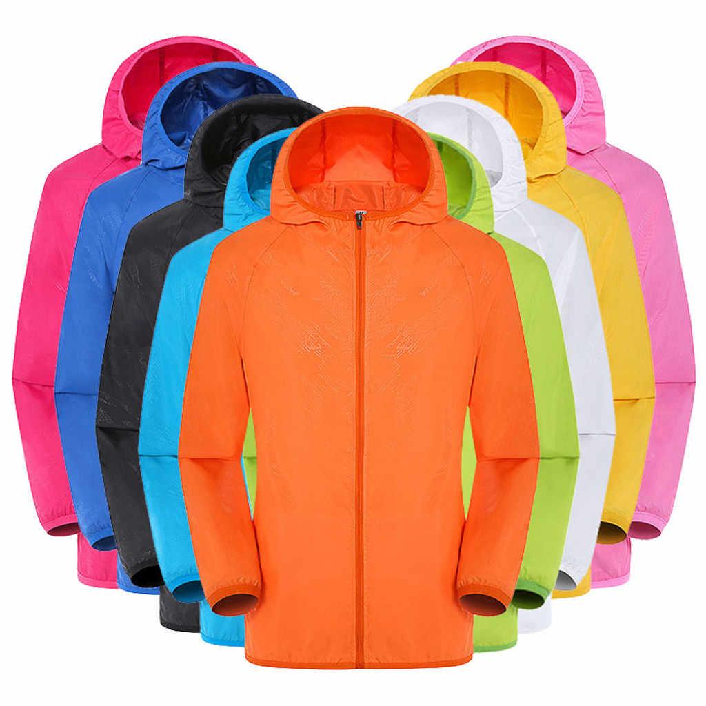 男性の女性カジュアルフード付きジャケット防風超軽量防雨ウインドブレーカーコートレインジャケット屋外サイクリング jaqueta