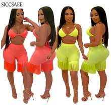 Backless Halter Crop Top And Shorts Sets Tassels Strapless Bodycon Bodysuit Sexy Club Wear 2 Piece Set Women Solid Color Tube sexy halter solid color crop top and slit skirt women s suit