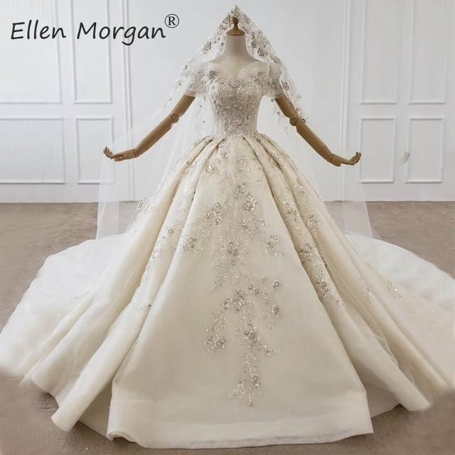 יוקרה גבישי תחרה כדור שמלות חתונה שמלות לנשים הסעודית נסיכה אלגנטית כבוי כתף שמלות כלה 2020